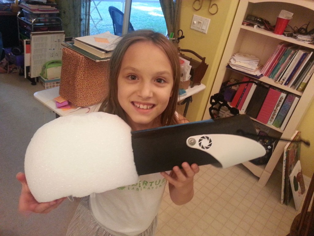 Portal Gun Project: Grace Holding the Finished Product