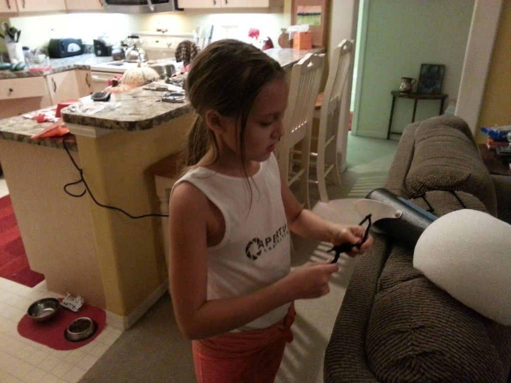 Portal Gun Project: Grace Working on Pipe Cleaners