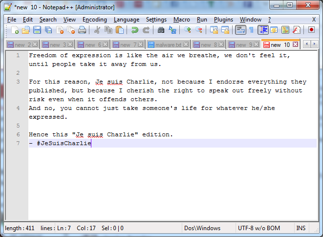 Notepad++ Charlie Hebdo Tribute